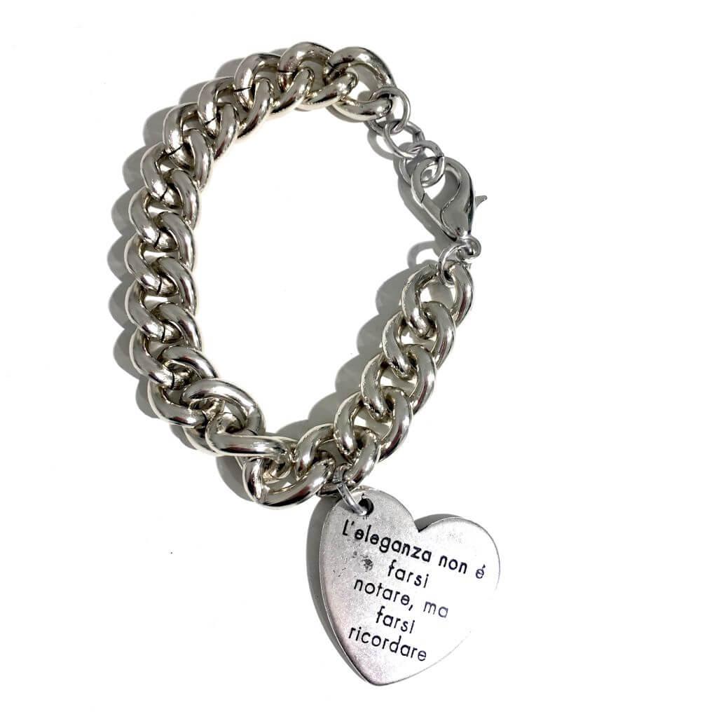 acquista lusso designer nuovo e usato negozio di sconto Bracciale frase medaglietta cuore e catena maglia lucida