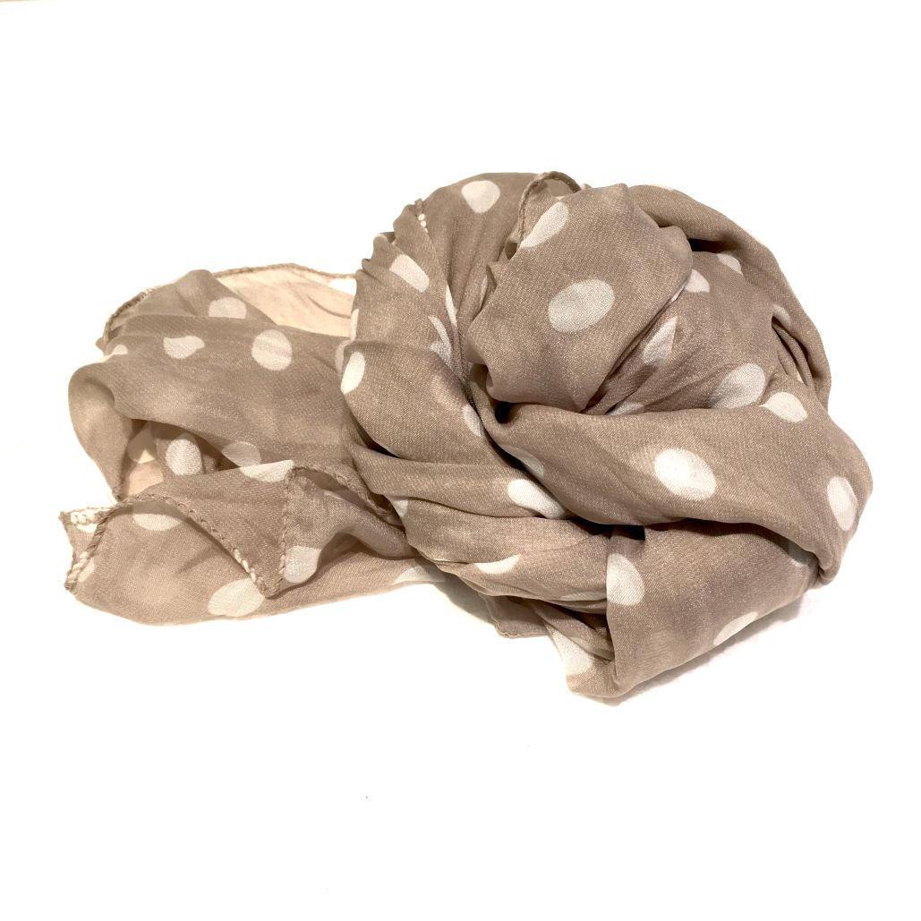sito affidabile metà prezzo outlet in vendita Pashmina tortora con pois bianchi - Negozio Online Coco