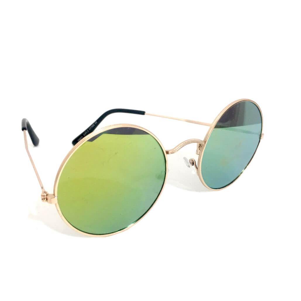 design senza tempo c6ad5 4a368 Occhiali da sole tondi verdi montatura rosè
