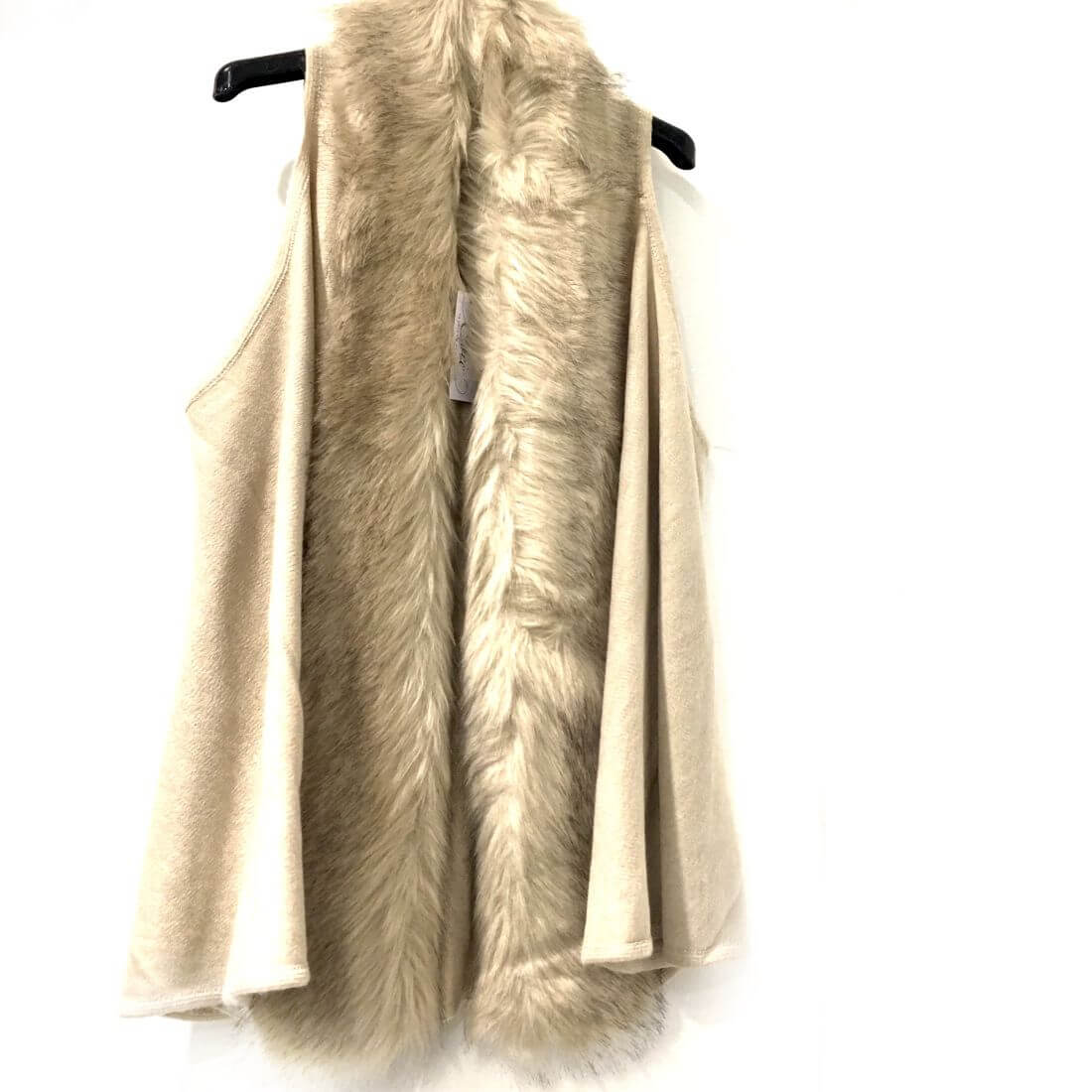wholesale dealer ef393 a0e8f Cardigan smanicato con pelliccia beige