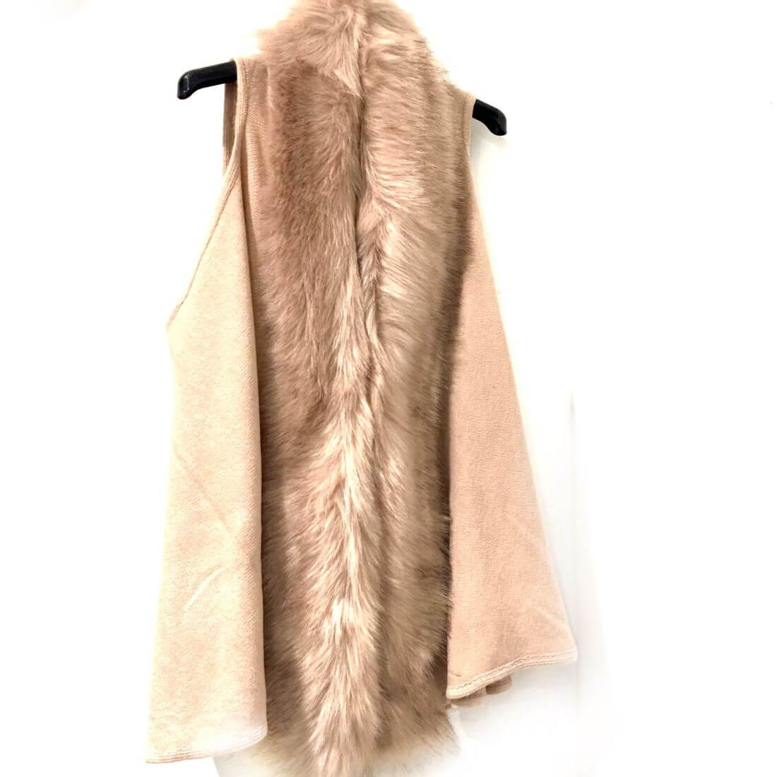 more photos cbc2d c5855 Cardigan smanicato con pelliccia rosa